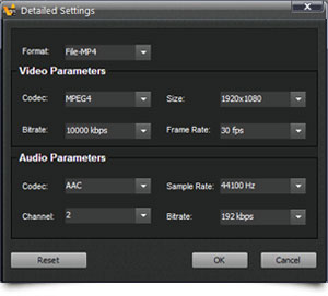 acdVIDEO Converter 2 detail settings