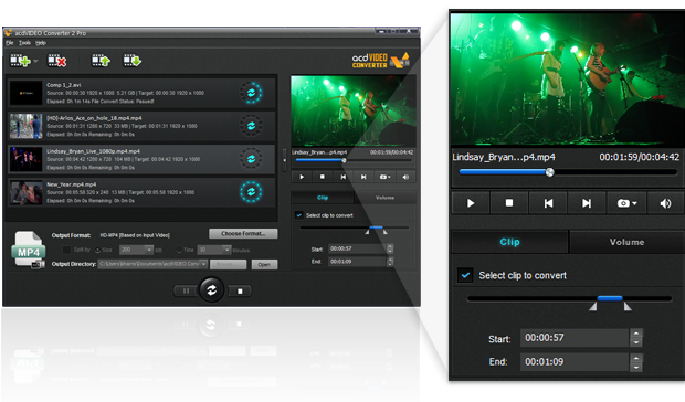 acdVIDEO Converter 2 Pro Tool Pane