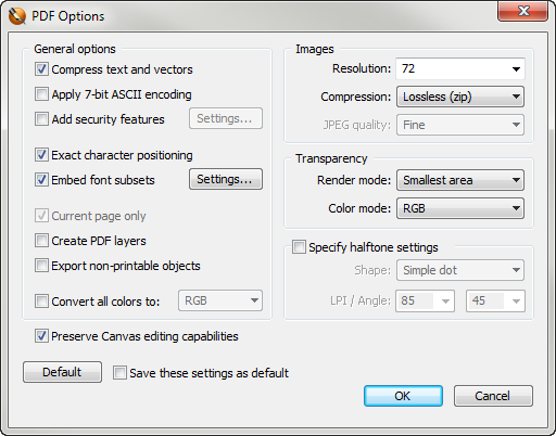 Creating a PDF from your Canvas Document