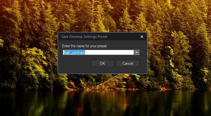 Save presets