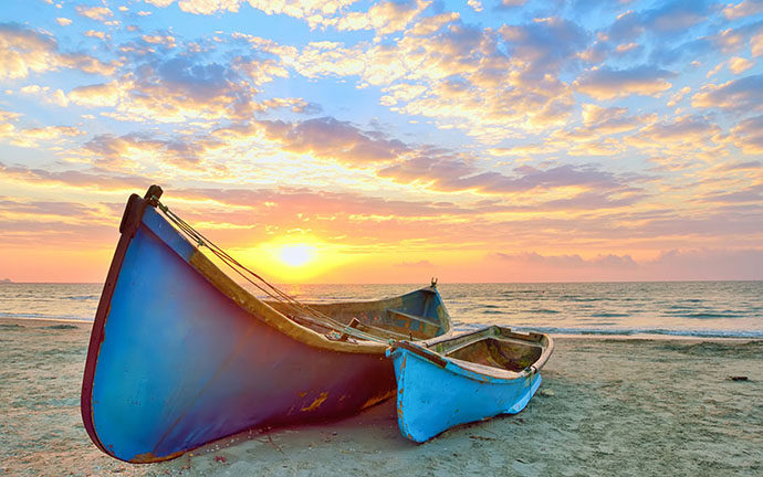 Golden Hour Boats on Beach