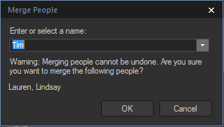 Facial recognition - Merge people dialog box